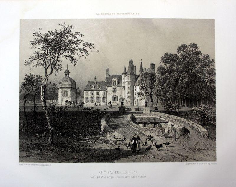 1870 Chateau des Rochers-Sevigne Bretagne France estampe Lithographie lithograph