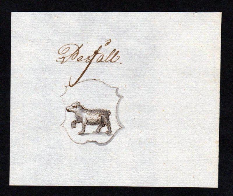 18. Jh. Perfall Adel Handschrift Manuskript Wappen manuscript coat of arms