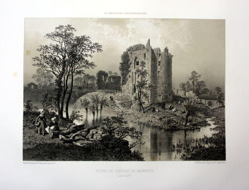 Ca. 1870 Chateau de Machecoul Bretagne France estampe Lithographie lithograph