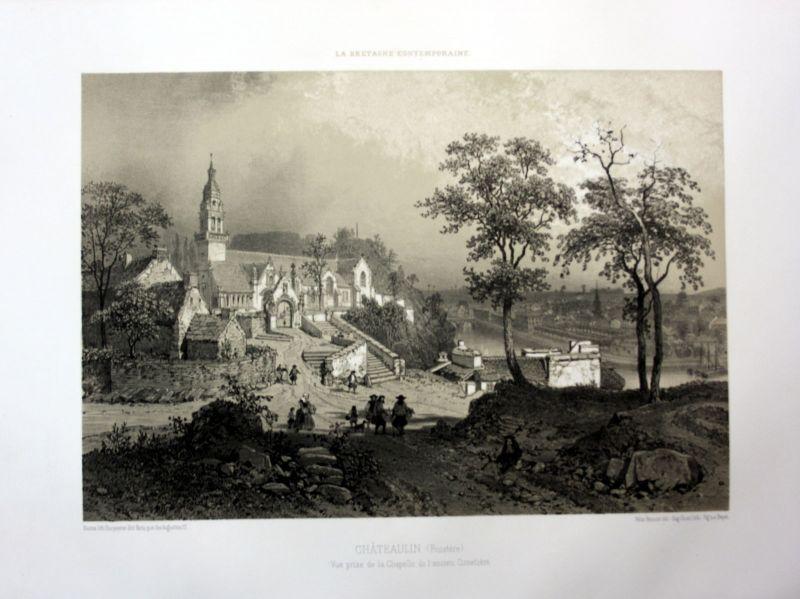 Ca. 1870 Chapelle Notre-Dame Chateaulin Bretagne France estampe Lithographie