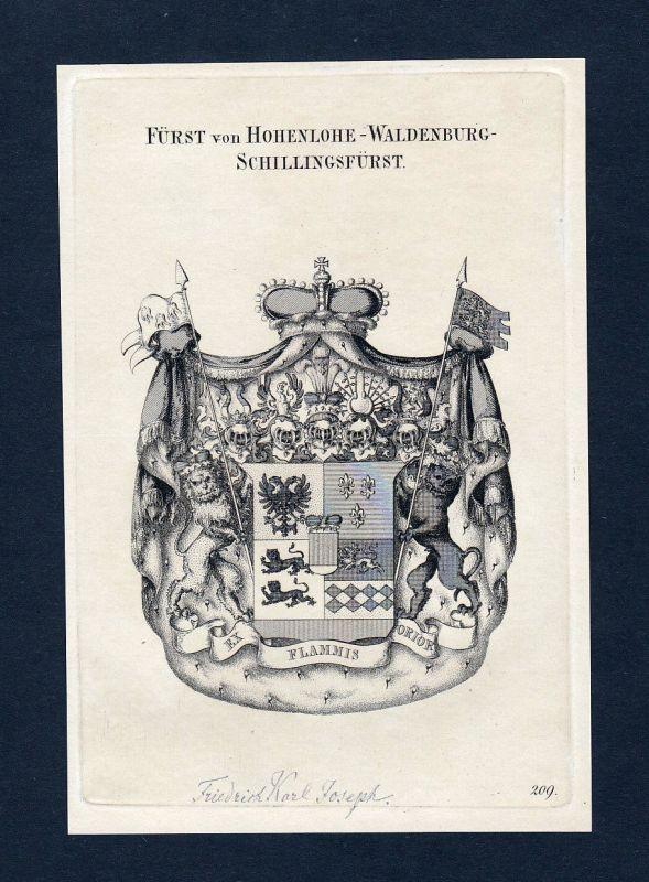 1820 Hohenlohe Waldenburg Wappen Adel coat of arms Kupferstich engraving
