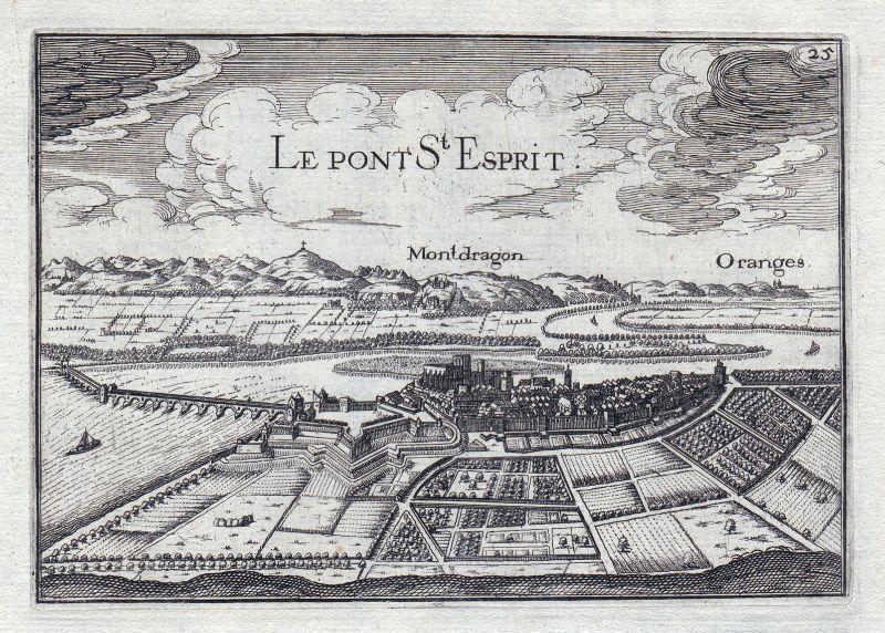 1630 Pont-Saint-Esprit Languedoc-Roussillon Gard France gravure estampe T 146404