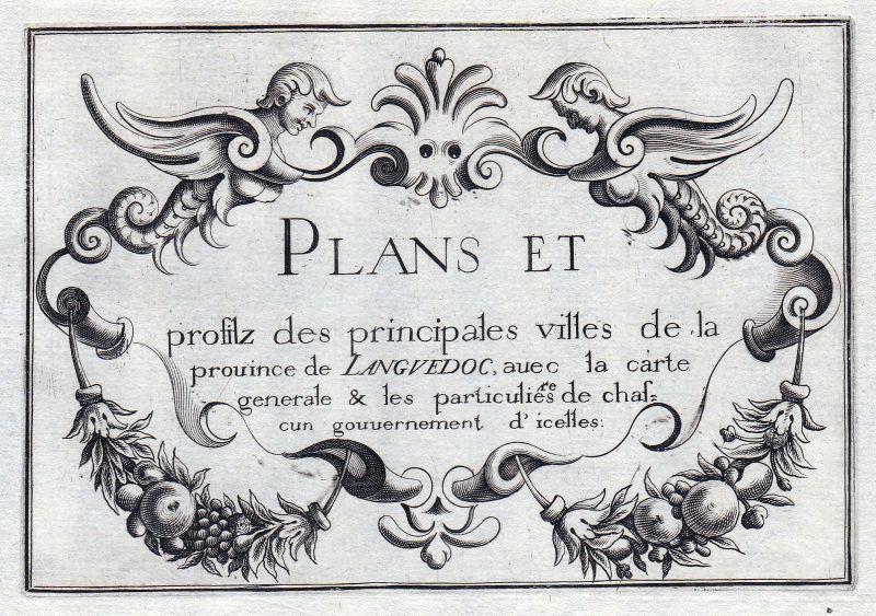 1630 titel Ornament Languedoc-Roussillon France gravure estampe Tassin