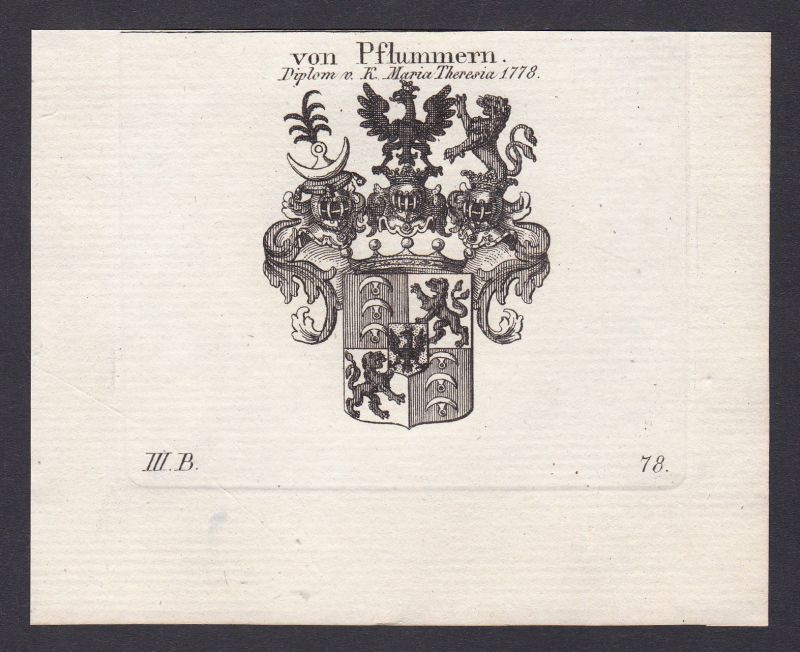 1820 Pflummern Wappen Adel coat of arms Heraldik Kupferstich antique print