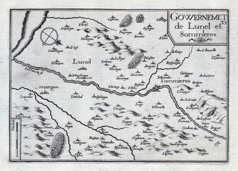 1630 Lunel Herault Sommieres Gard France gravure estampe Kupferstich Tassin