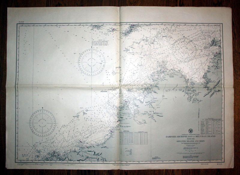 1924 Australia northwest coast Dampier Archipelago to Melville Island sea chart 0