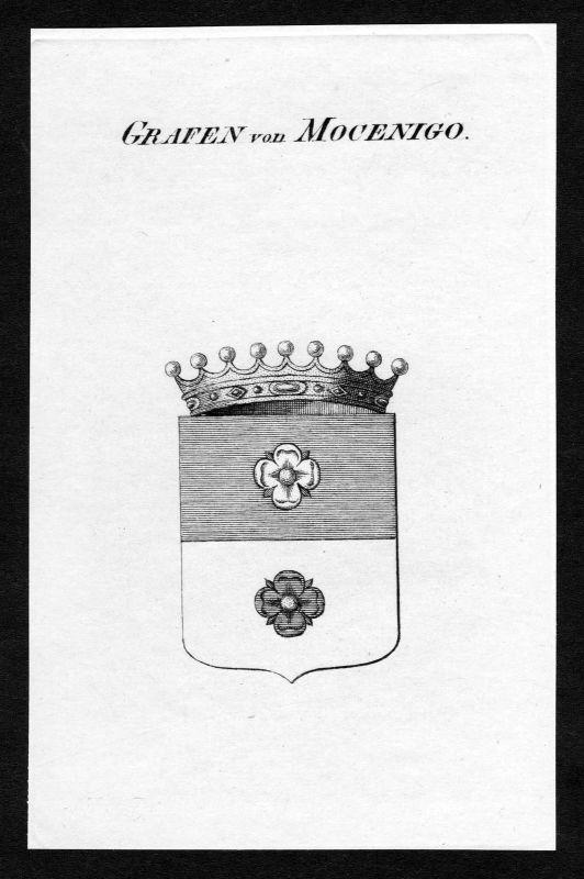 Ca. 1820 Mocenigo Wappen Adel coat of arms Kupferstich antique print heraldry 0