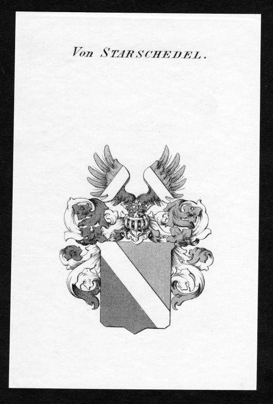 Ca. 1820 Starschedel Wappen Adel coat of arms Kupferstich antique print heraldry 0