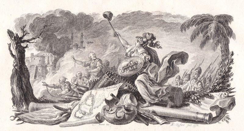 1778 Coron battle Schlacht fight Kampf Kupferstich antique print Chossard