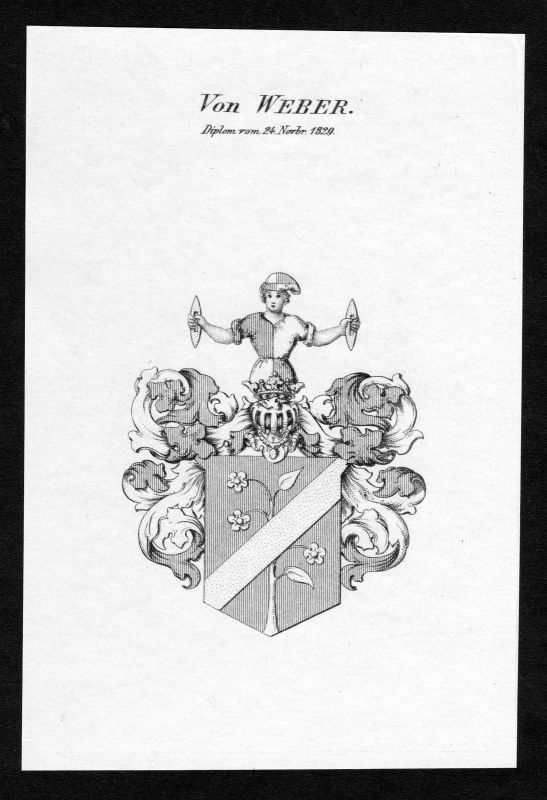 1829 - Weber Wappen Adel coat of arms Kupferstich antique print heraldry 0