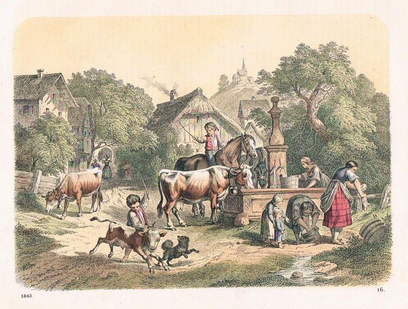 1861 - Bauernhof Bauern farm Kuh Pferde Landleben Lithographie lithography