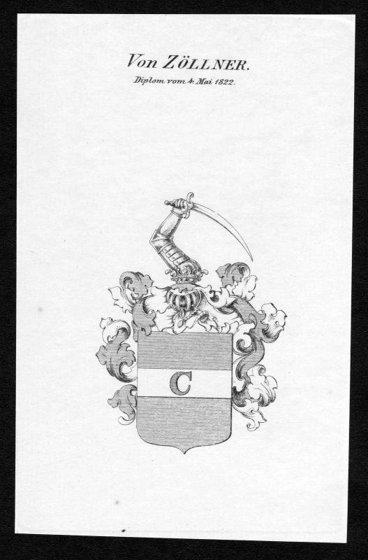 1822 Zöllner Zoellner Wappen Adel coat of arms Kupferstich antique print 0