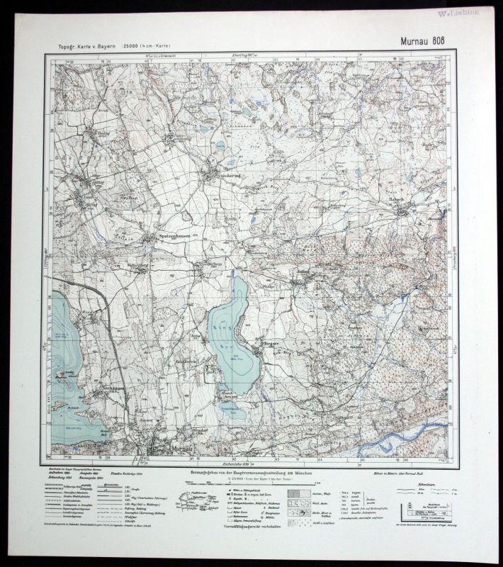1944 Murnau Riegsee Obersöchering Habach Seehausen 1:25000 Karte Meßtischblatt
