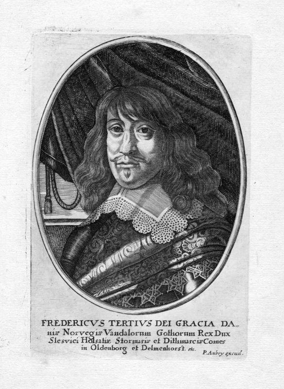 1650 Frederik 3. konge Danmark Norge Denmark Norway Portrait Kupferstich antique 0