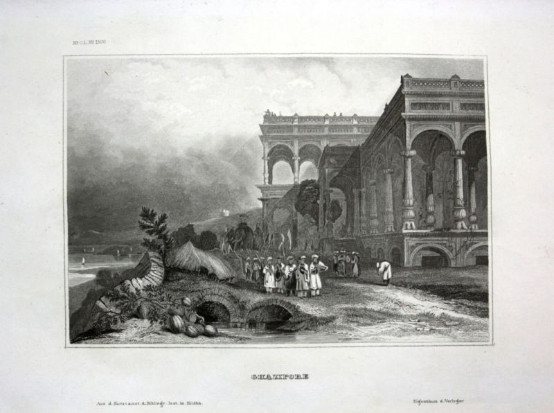 Ca. 1840 Ghazipur Indien India Ansicht view Stahlstich engraving