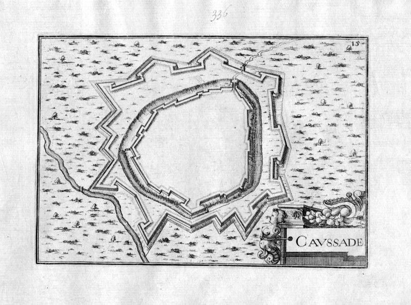 1630 Caussade Okzitanien France Kupferstich Karte map engraving gravure Tassin