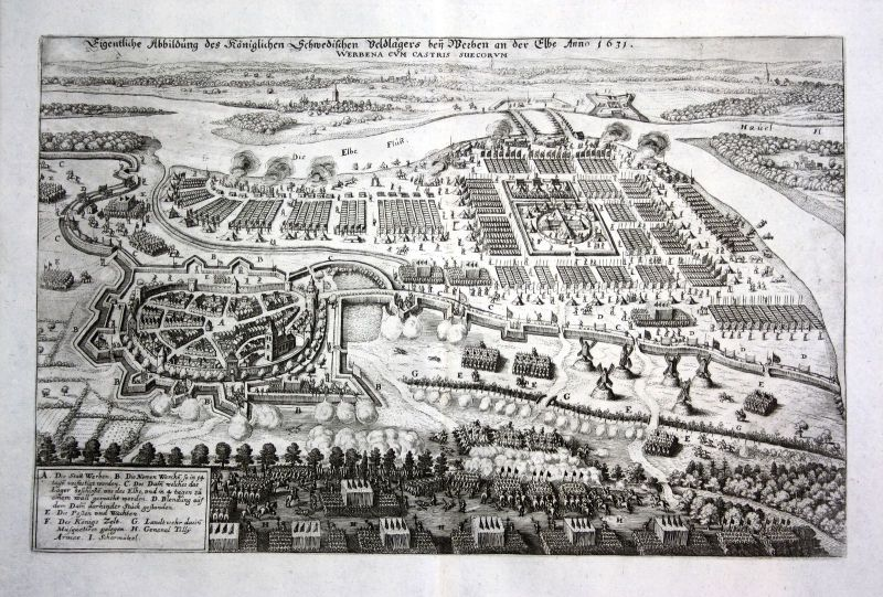 1679 Werben Elbe Belangerung Feldlager view Kupferstich antique print Merian 0