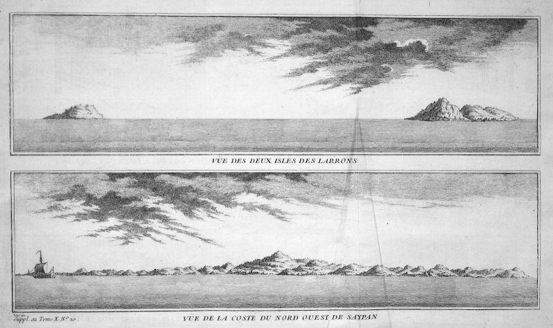 Marianen Mariana Saipan Asien Asia Ansicht view Kupferstich antique print Bellin 0