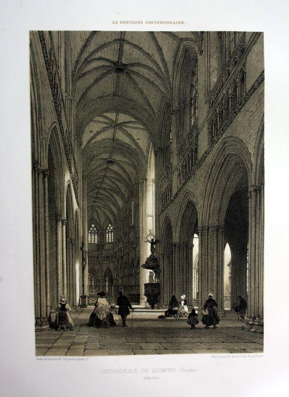 1870 Saint-Corentin de Quimper Bretagne France estampe Lithographie lithograph 0