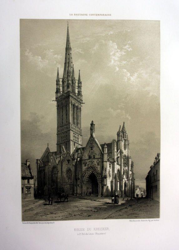 Ca 1870 Chapelle Kreisker Saint-Pol-de-Leon Bretagne France estampe Lithographie