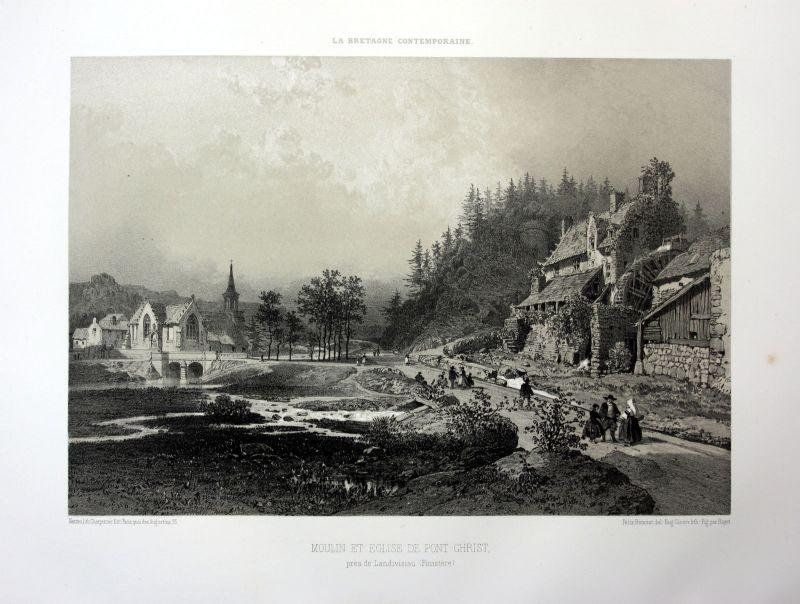 Ca 1870 Pont-Christ moulin La Roche-Maurice Bretagne France estampe Lithographie