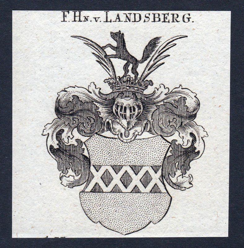 1820 Landsberg Westfalen Wappen Adel coat of arms Kupferstich engraving 142529