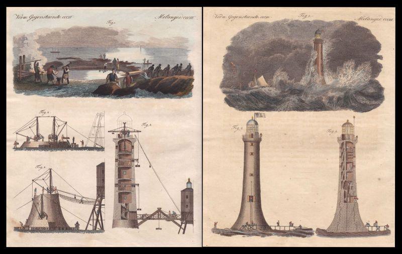 Bell Rock lighthouse Arbroath Schottland Scotland Leuchtturm Bertuch 1800 0