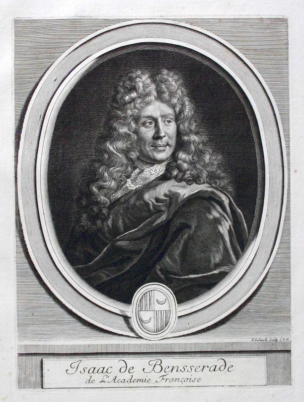 Isaac de Benserade writer poet Dichter Portrait Kupferstich gravure ca. 1700