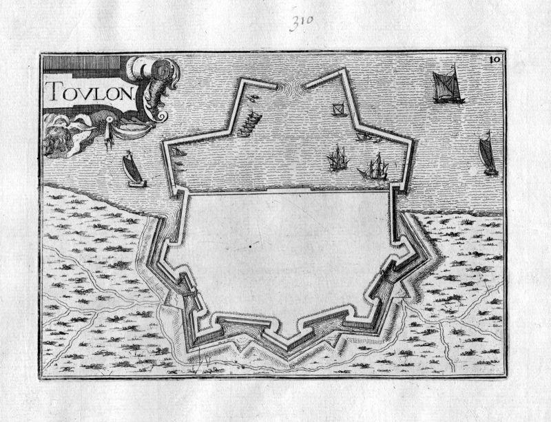 1630 Toulon Var France Frankreich Kupferstich Karte map engraving gravure Tassin