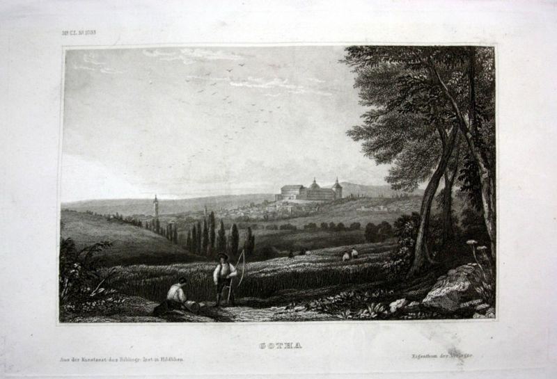 Ca. 1840 Gotha Ansicht Gesamtansicht Panorama view Stahlstich engraving