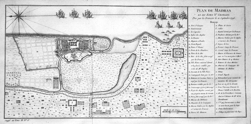 Fort St. George Chennai Tamil Nadu India Indien plan Kupferstich Bellin