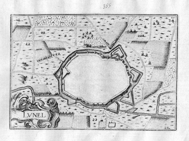 Ca. 1630 Lunel Herault Frankreich Kupferstich Karte map engraving gravure Tassin