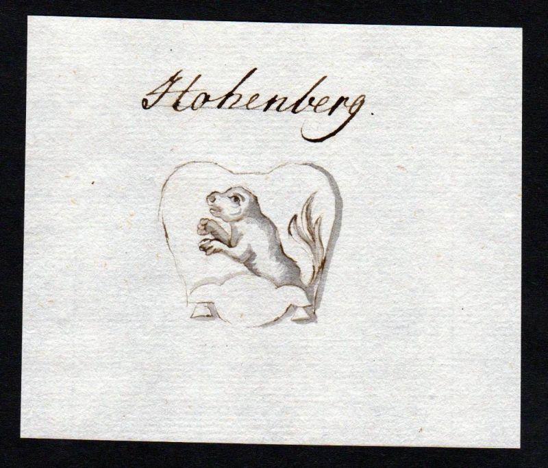 18. Jh. Hohenberg Handschrift Manuskript Wappen manuscript coat of arms