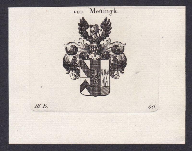 1820 Mettingh Bayern Wappen Adel coat of arms Heraldik Kupferstich antique print 0