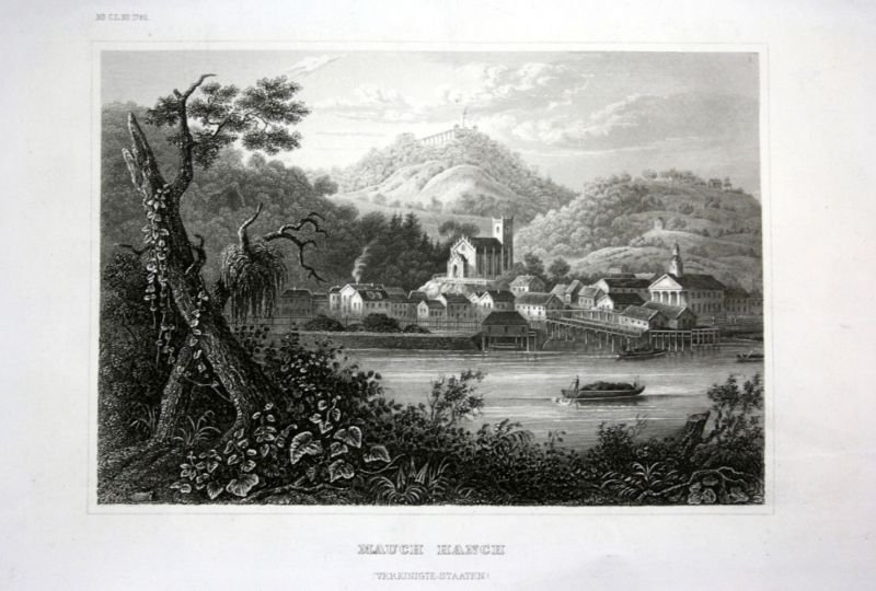 Ca. 1840 Mauch Hanch Amerika America Ansicht view Stahlstich engraving 0