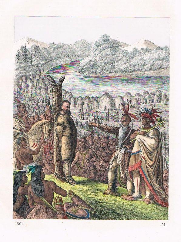 1861 - Baron Wodan Indianer Gefangener Amerika America Lithographie lithography