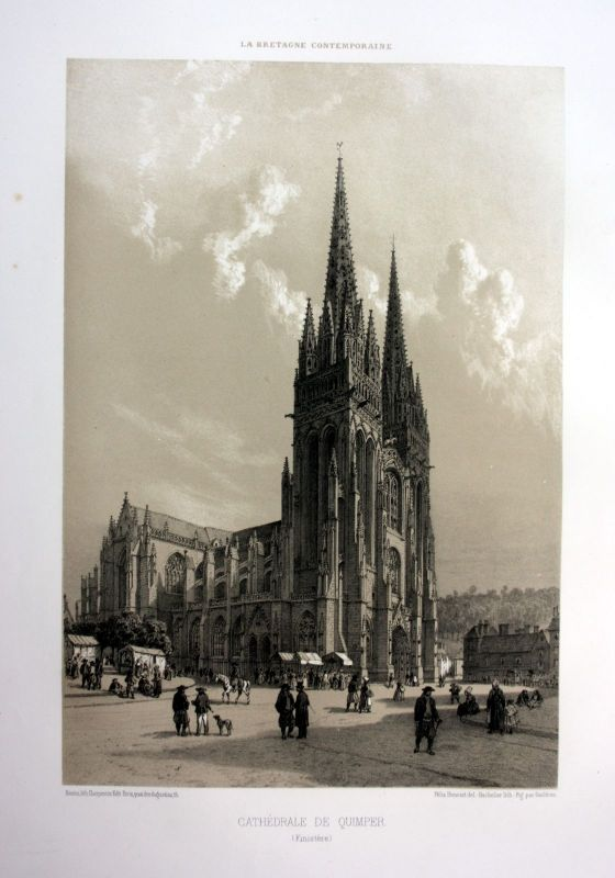 Ca. 1870 Cathedrale Quimper Bretagne France estampe Lithographie lithograph