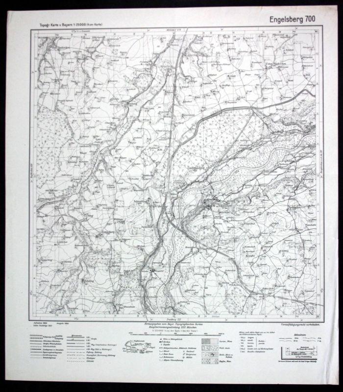 1941 Engelsberg Garching Alz Unterneukirchen Oberneukirchen 1:25000 Karte