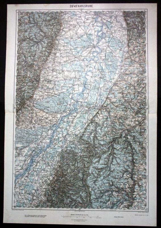 Karlsruhe / Mannheim / Speyer / Rastatt / Pforzheim / Mannheim - alte Landkarte