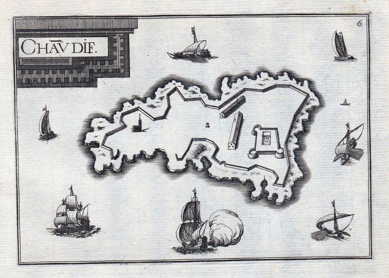 1630 Château d'If Marseille Isle d'If France gravure estampe Kupferstich Tassin