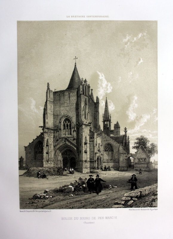 Ca. 1870 Eglise Penmarch Bretagne France estampe Lithographie lithograph