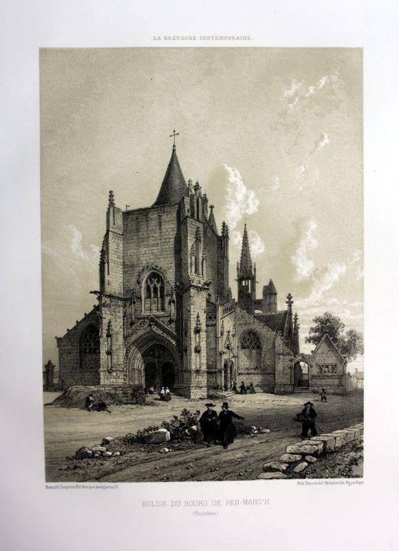 Ca. 1870 Eglise Penmarch Bretagne France estampe Lithographie lithograph 0