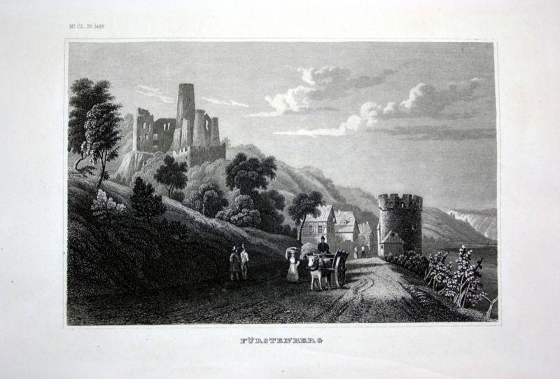 Ca. 1840 Burg Fürstenberg Hüflingen Fürstenberg Ruine Stahlstich engraving