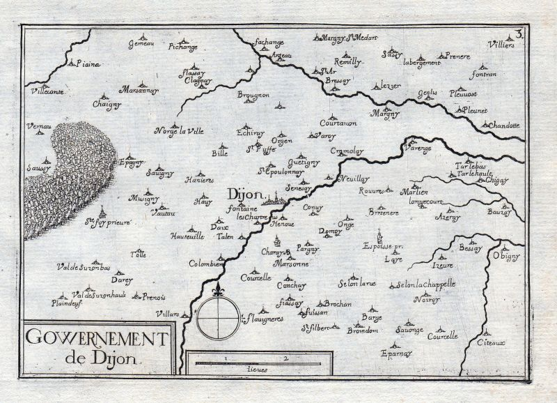 1630 Dijon Cote-d'Or Bourgogne France gravure estampe Kupferstich Tassin 0