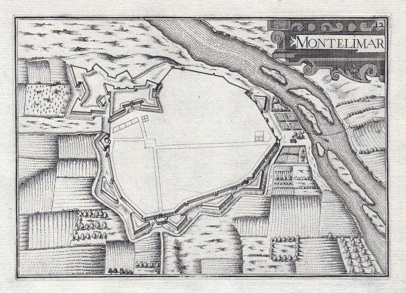 1630 Montelimar Drome France gravure estampe Kupferstich Tassin