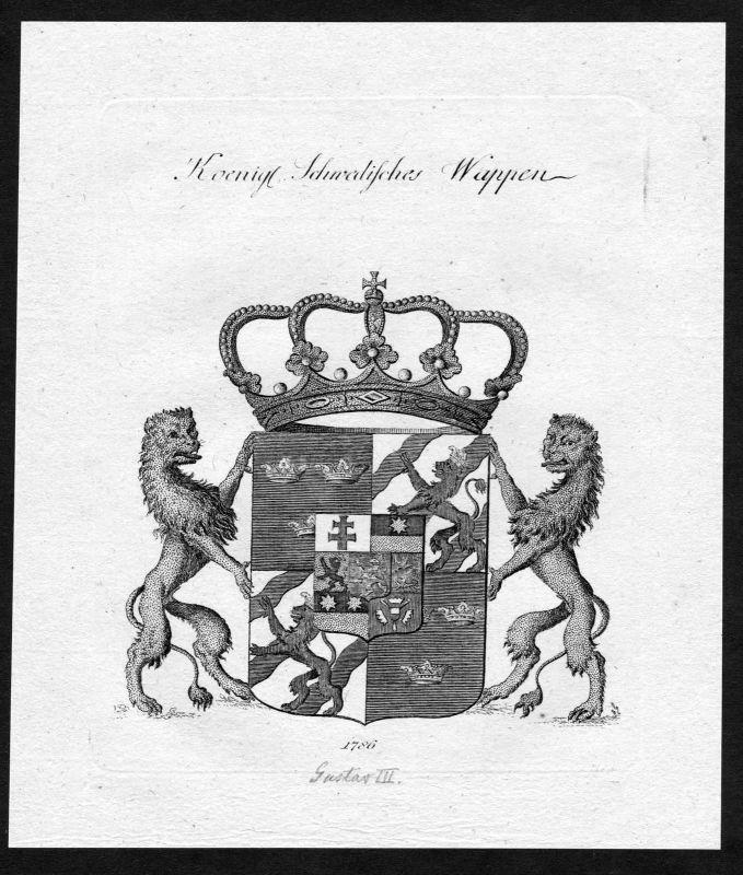 1790 - Schweden Sweden Wappen Adel coat of arms heraldry Heraldik Kupferstich