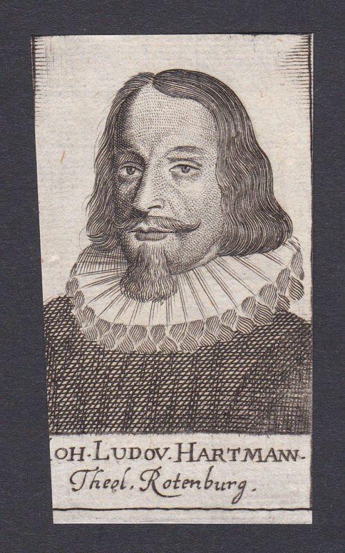 17. Jh. - Johann Ludwig Hartmann / Theologe Rothenburg Portrait Kupferstich 0