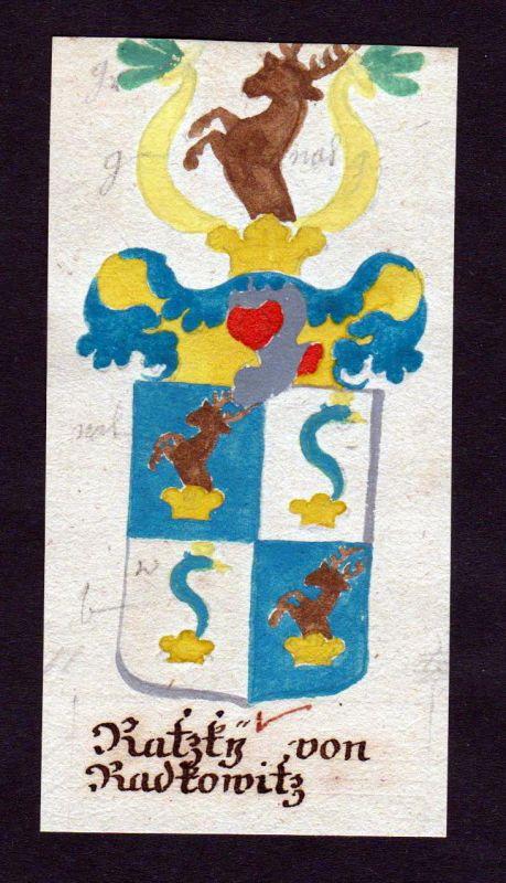 18. Jh. Ratzky von Radkowitz Böhmen Manuskript Wappen Adel coat of arms heraldry 0