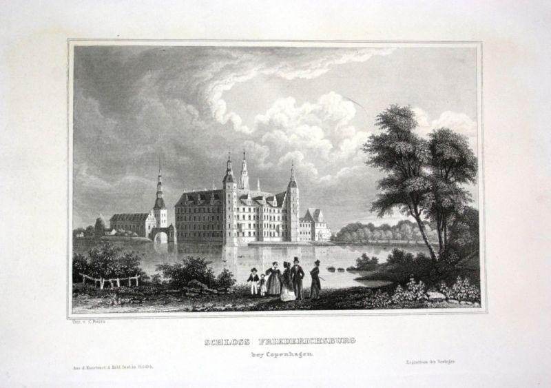 Ca. 1840 Schloss Frederiksborg Slot Dänemark Denmark Stahlstich engraving