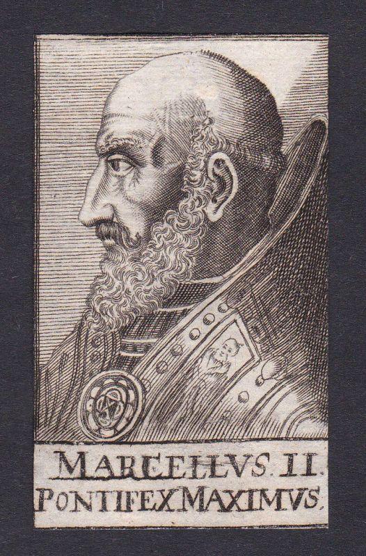 17. Jh. Marcellus II. / pope Papst Montefano Italien Italy Portrait Kupferstich